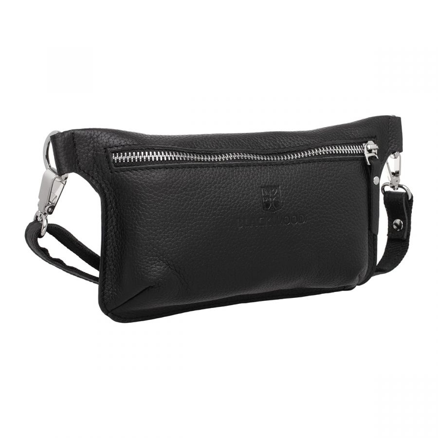 Женская кожаная поясная сумка Blackwood Maley Black