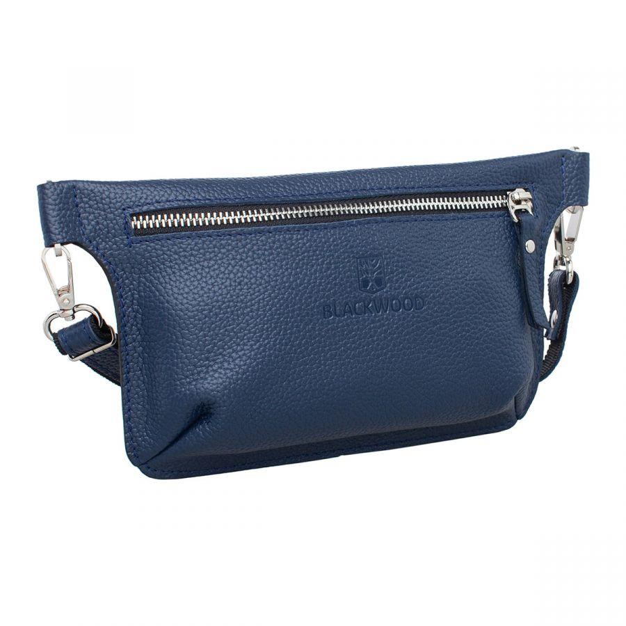 Женская кожаная поясная сумка Blackwood Maley Dark Blue