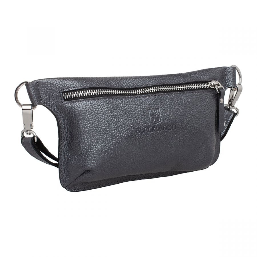 Женская кожаная поясная сумка Blackwood Maley Silver Grey