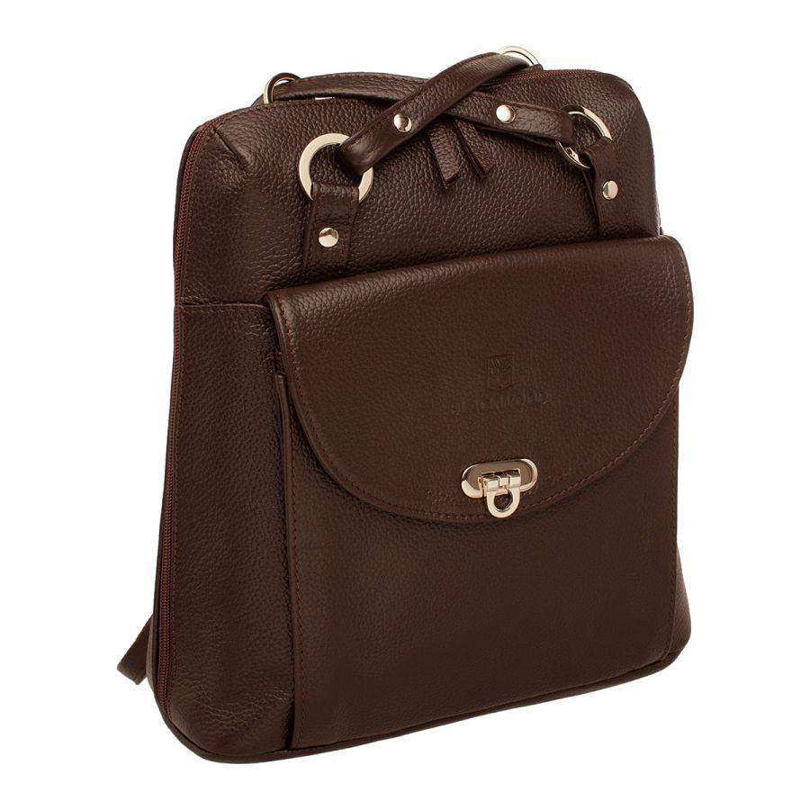 Женский кожаный рюкзак-трансформер Blackwood Jay Brown