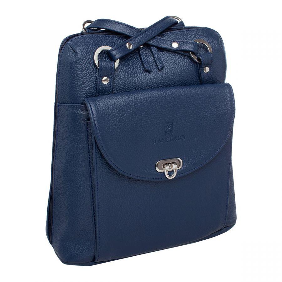 Женский кожаный рюкзак-трансформер Blackwood Jay Dark Blue