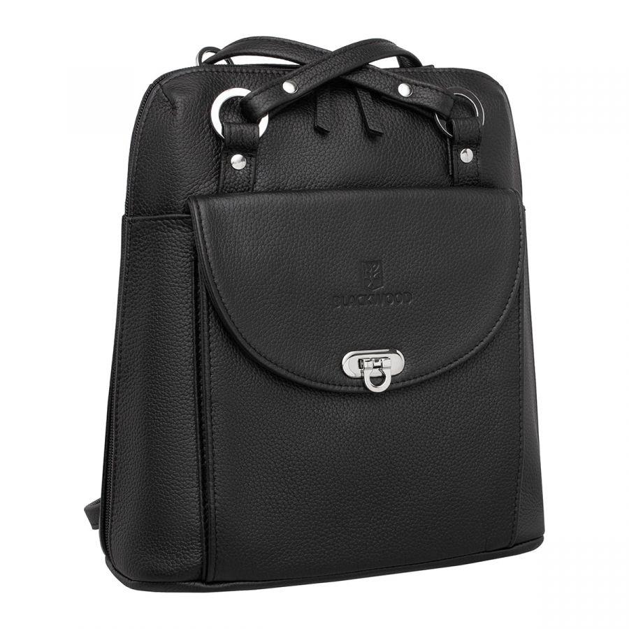 Женский кожаный рюкзак-трансформер BlackwoodJay Black
