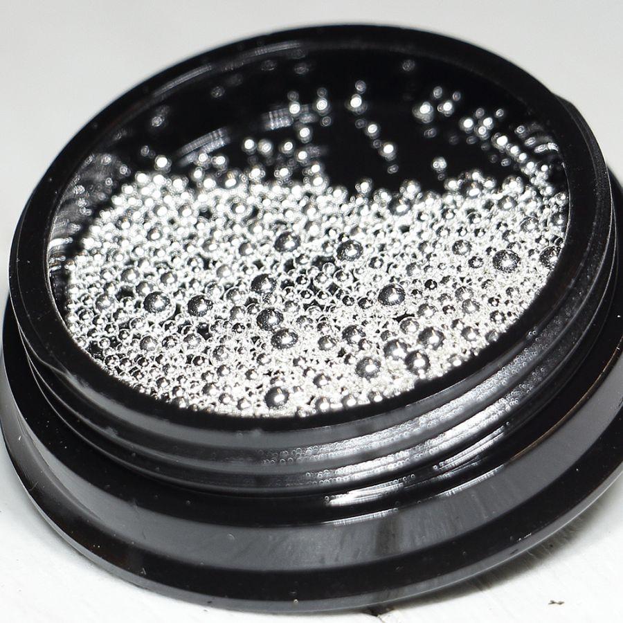 Бульонки для ногтей серебро металлические размер ассорти от 0,5 до 2 мм