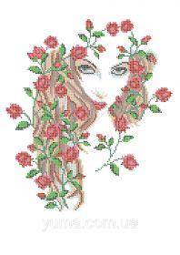 ЮМА ЮМА-3373 Девушка в Розах схема для вышивки бисером купить оптом в магазине Золотая Игла - вышивка бисером