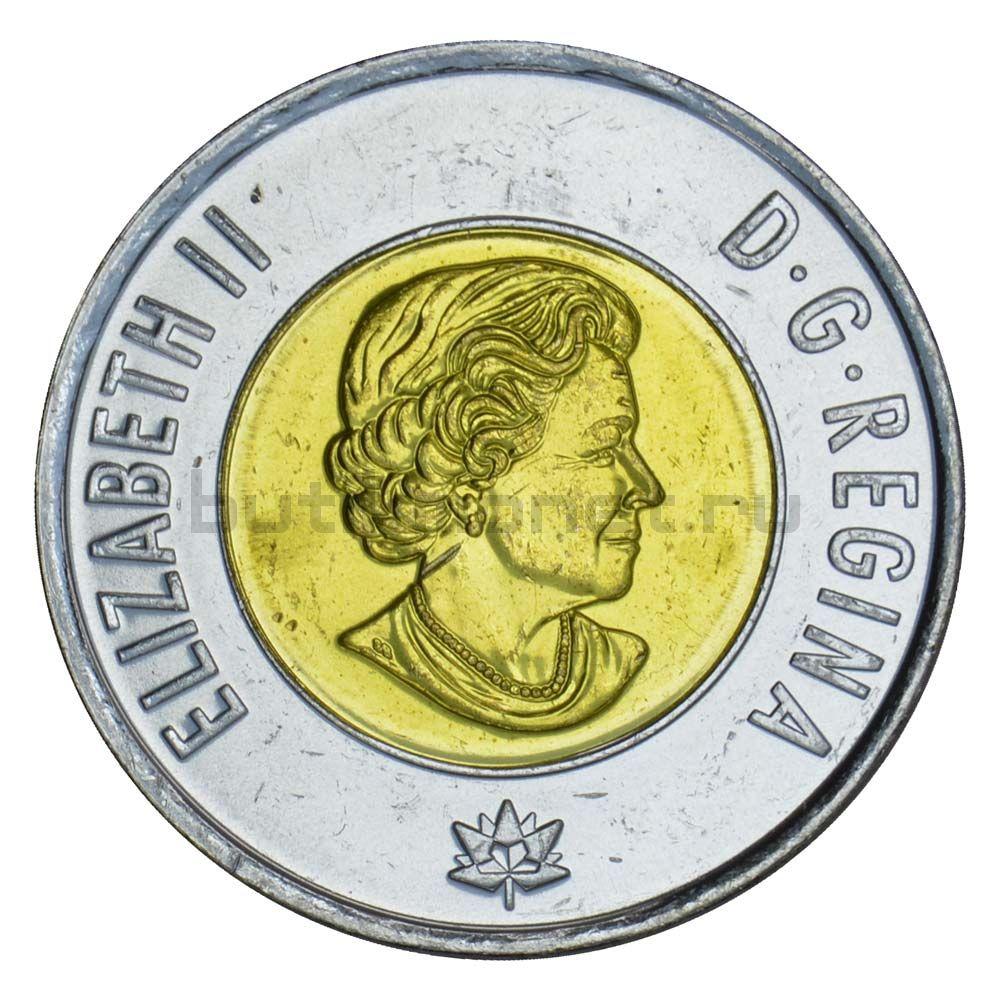 2 доллара 2017 Канада Полярное сияние Цветная (150 лет Конфедерации Канада)