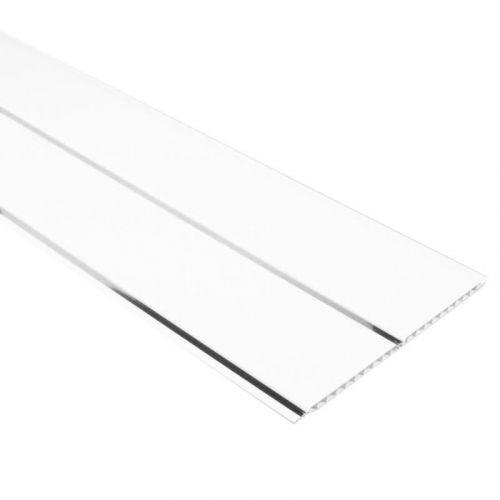 Пластиковый реечный потолок белый глянец с хром полосой