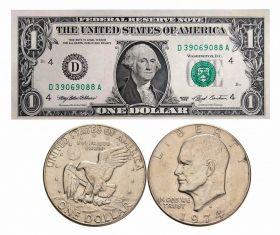 1 доллар Д. Вашингтон + 1 доллар ЭЙЗЕНХАУЭРА 197х годов