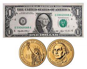 Первый президент США - Джордж Вашингтон монета+банкнота