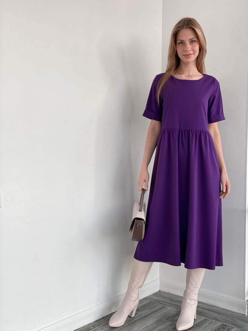 s3684 Платье базовое из хлопка фиолетовое