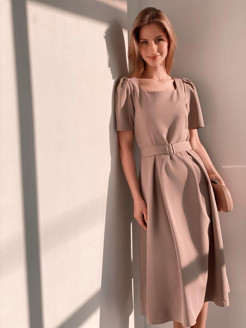 s3685 Платье в ретро-стиле в нейтральном бежевом