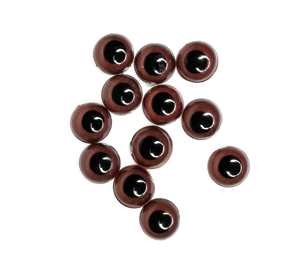 Глазки не клеевые пластиковые, цвет коричневый, диаметр 8 мм (26635)