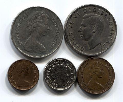 Набор монет Великобритания 1948-2000 5 шт. НАБ БРИТ-001