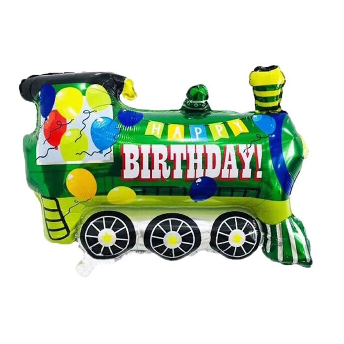 """Шар фольгированный 24"""" """"С днем рождения"""", паровозик, цвет зелёный"""