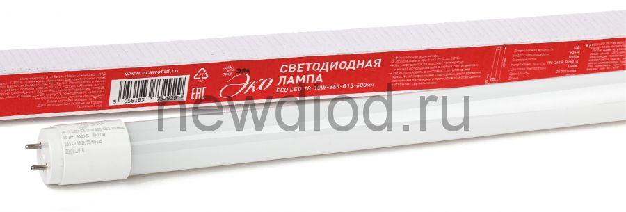 Лампа светодиодная Эра ECO LED T8-10W-865-G13-600mm (диод,трубка стекл,10Вт,хол,непов. G13)