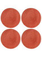 Набор из 4-х круглых кухонных термосалфеток Dutamel плейсмат салфетка сервировочная диаметр 30 см - плетеная оранжевая DTM-029 окантовка косичка