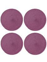 Набор из 4-х круглых кухонных термосалфеток Dutamel плейсмат салфетка сервировочная диаметр 30 см - плетеная фиолетовая DTM-030 окантовка косичка