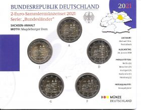 Саксония-Ангальт (Магдебургский собор), Германия 2 евро 2021Набор (A,D,F,G,J), BU