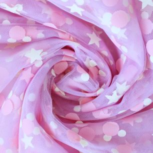 Мягкий фатин (еврофатин) - Звезды и горошки на сиренево-розовом 160х25