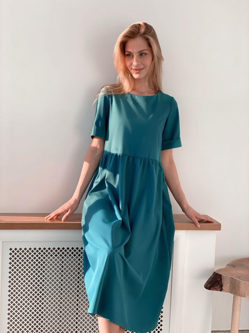 s3699 Платье базовое в цвете морской волны