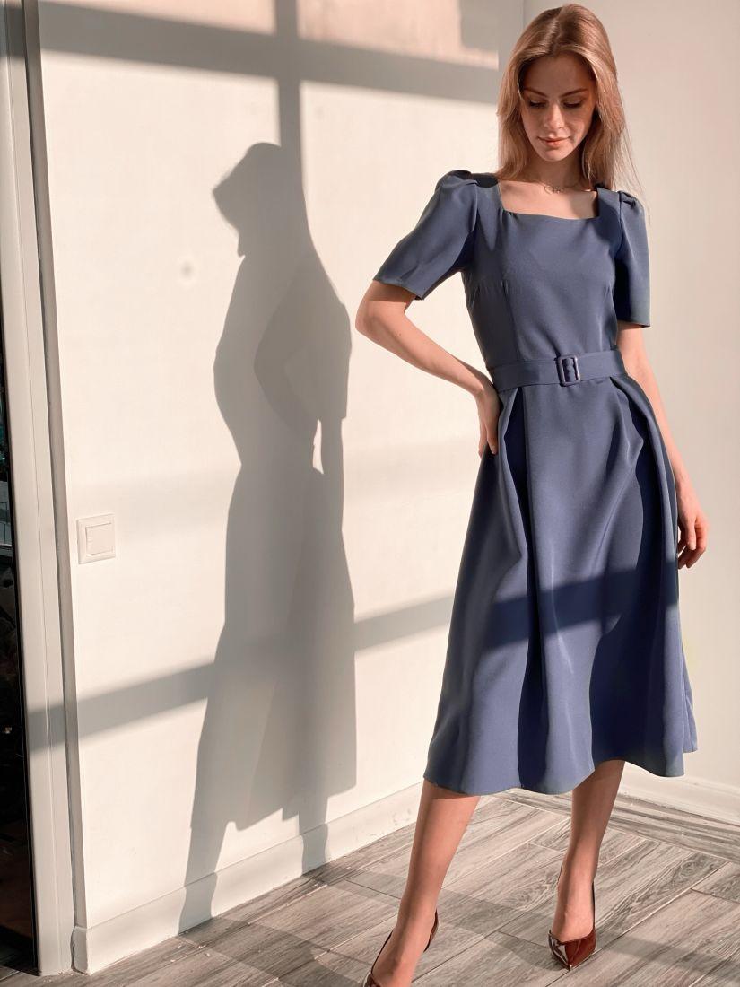 3703 Платье в ретро-стиле серо-голубое