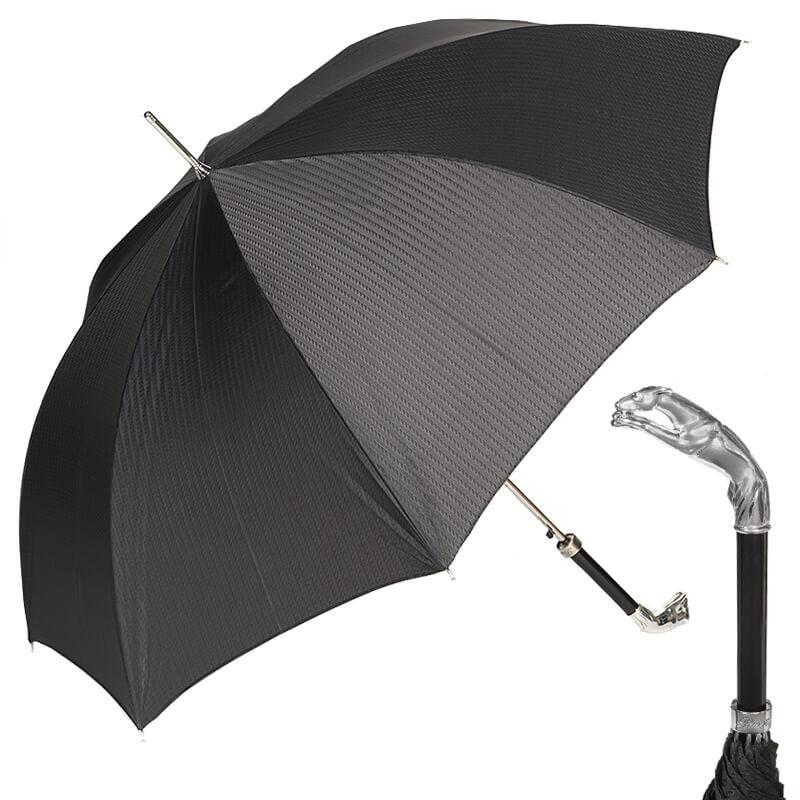 Зонт-трость Pasotti Jaguar Silver Codino Black