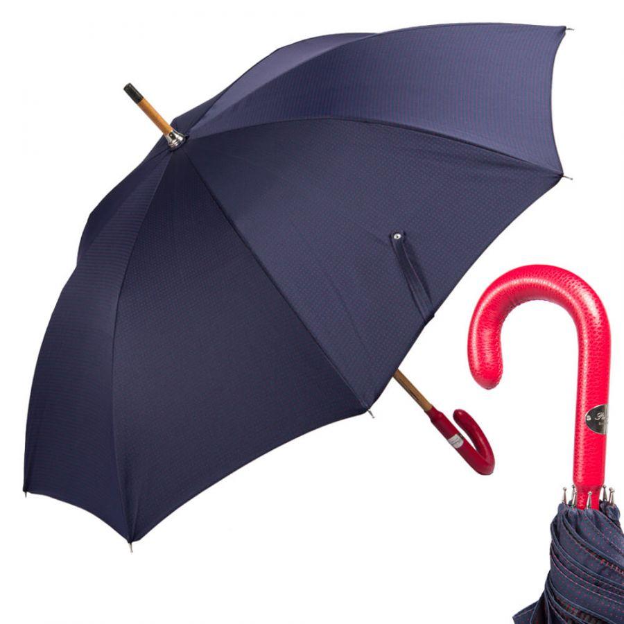 Зонт-трость Pasotti Pelle/Legno Punto Blu