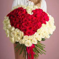 Букет из 101 розы в форме сердца №2