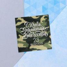 Мини-открытка «23 февраля», камуфляж, 7 х 7 см