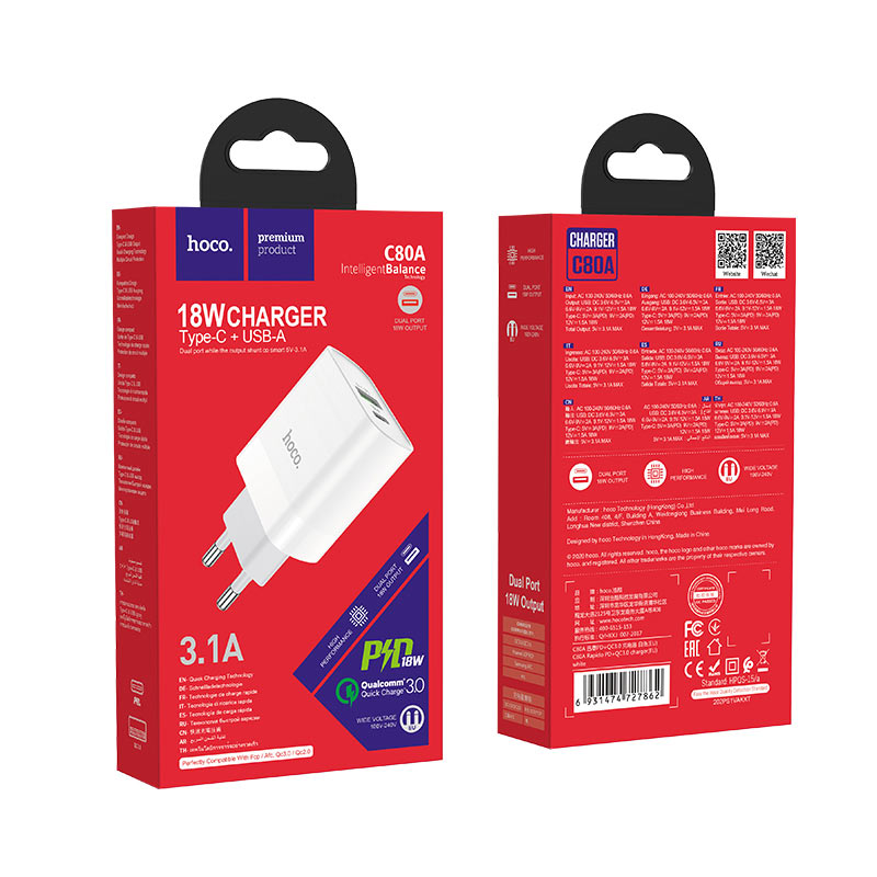 Сетевое зарядное устройство Hoco C80A USB QC 3.0/ Type-C PD (white)