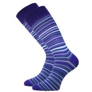 Мужские цветные носки  с418 фиолетовая  полоска