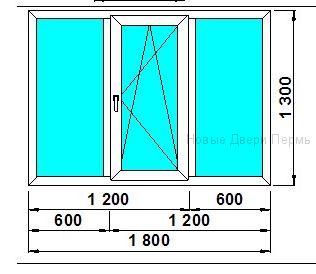 Окно ПВХ 1800*1300 мм одностворчатое готовые окна
