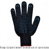Перчатки х/б с ПВХ 10 класс,6-нитка Точка (черные), шт