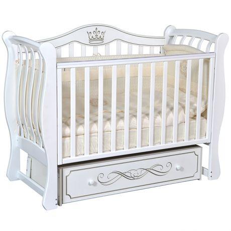 Детская кровать Кедр Grace 2 с маятником, ящиком и фигурными бортиками