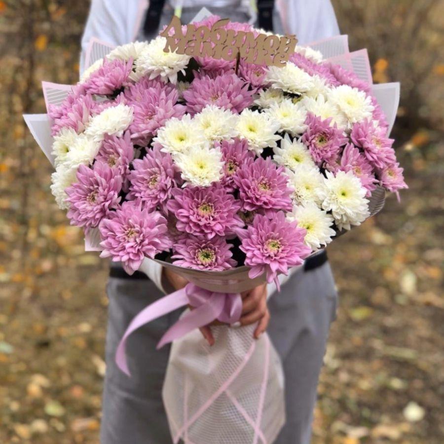 Микс из белых и розовых хризантем 15шт