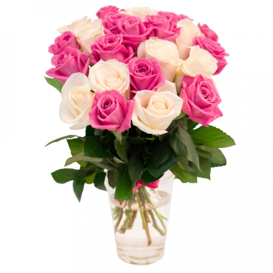 Белые и розовые розы 60 см