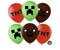 """Гелиевый шар 12"""" (30см) Пиксели, 2ст., пастель, ассорти"""