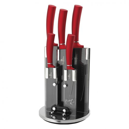 BH-2528 Burgundy Metallic Line Набор ножей на подставке 6 пр.