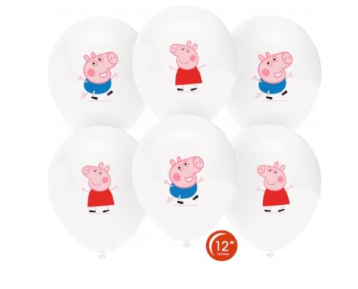 """Воздушный шар с гелием 12"""" (30см) Свинка Пеппа и Джордж, пастель, белый, 1ст. многоцветный"""