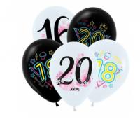 """Воздушный шар с гелием 12"""" (30) Модные цифры (Молодежные), Ассорти Пастель 2 цв."""