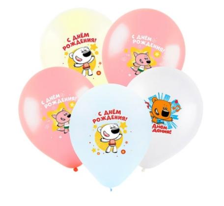 """Воздушный шар с гелием 12"""" (30 см) С днем рождения Ми-Ми-Мишки, ассорти пастель, 5цв."""