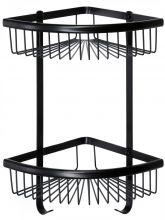 Полка решетка угловая двойная Savol S-5854-2H черная