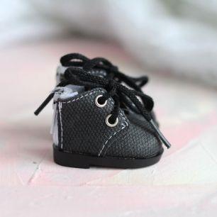 Обувь для кукол 5,5 см - Сапожки на молнии черные матовые