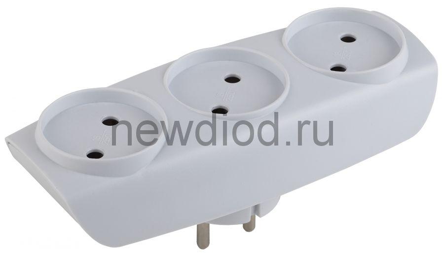 SP-3-W  ЭРА Тройник 3гн, без заземл.(белый) (10/60/1200)