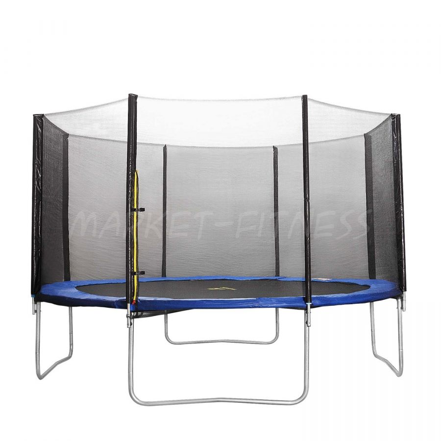 Батут DFC Trampoline Fitness 14ft наружн.сетка, синий (4.27м)