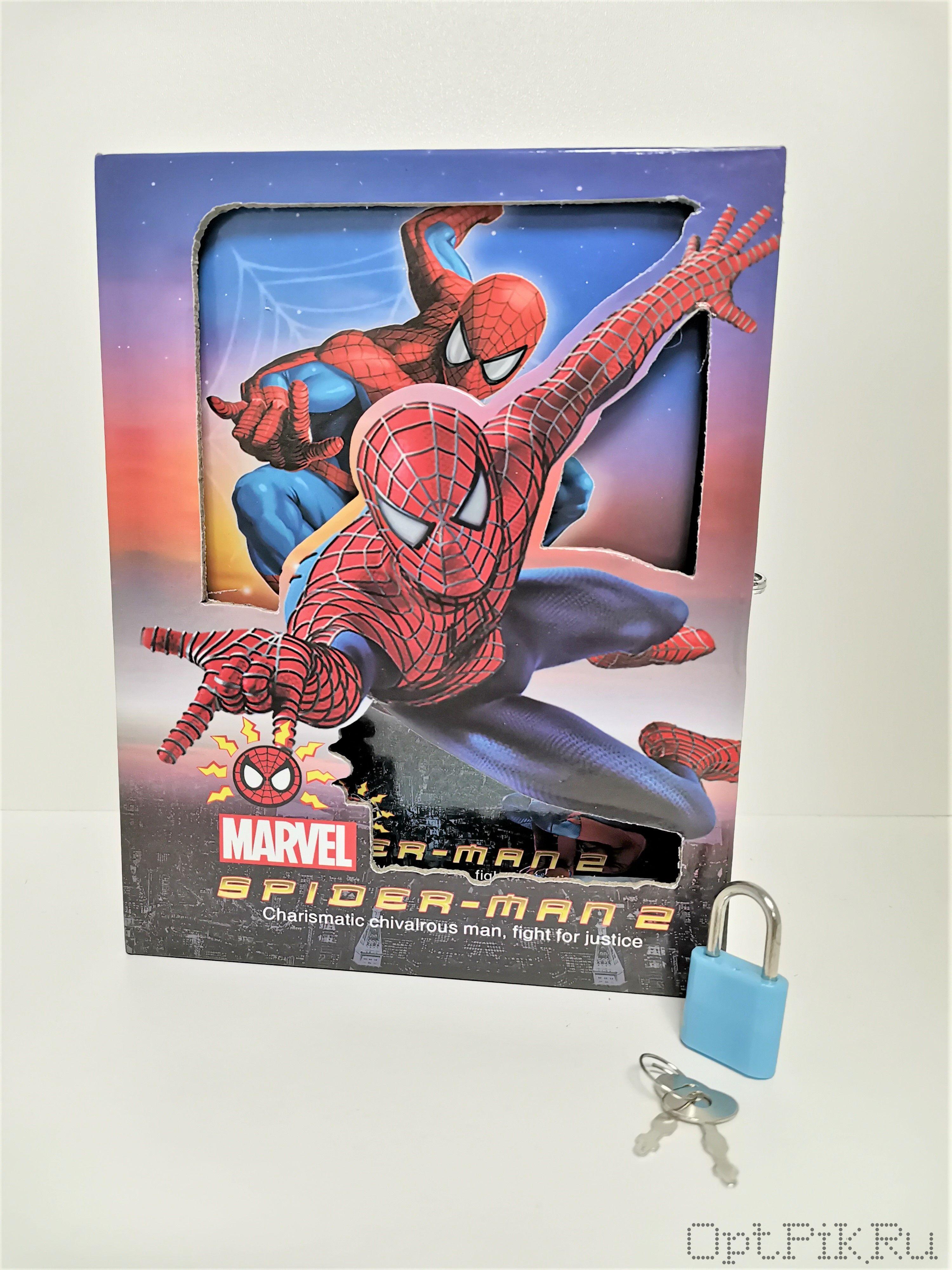 Блокнот Человек паук с навесным замком средний