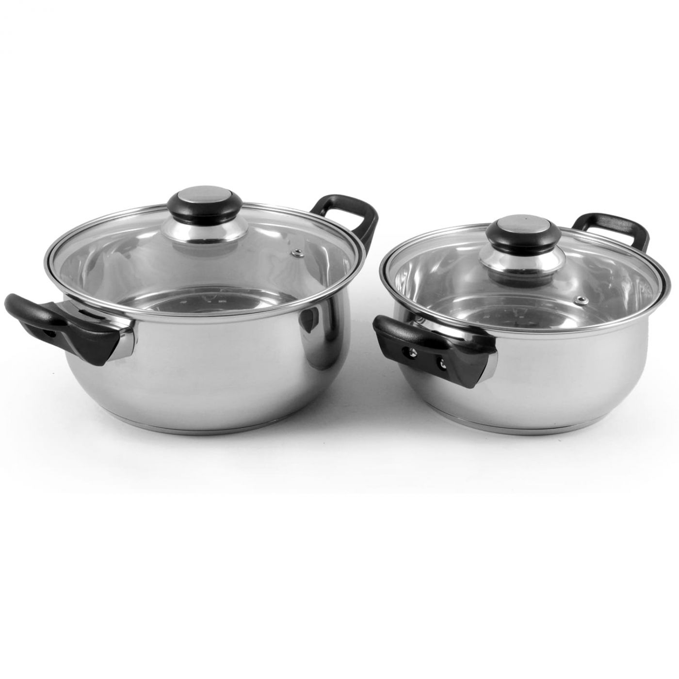 Набор посуды из 4 предметов BAKS-SET-4 из нерж стали (2 кастрюли с крышками - 2/2,8 л; 18/20 см-диа)