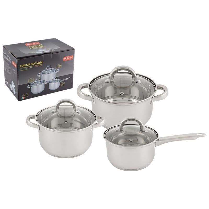 Набор посуды из 6 предметов, MEDIANO-SET-6 (ковш1,9л/кастрюли: 2,6/3,6 л) из нерж стали с крышками