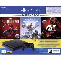 Игровая приставка PlayStation 4 (1 ТБ) с 3 играми: Horizon Zero Dawn, Человек-паук, Gran Turismo Sport + PS Plus 3-месячная подписка (CUH-2208B)
