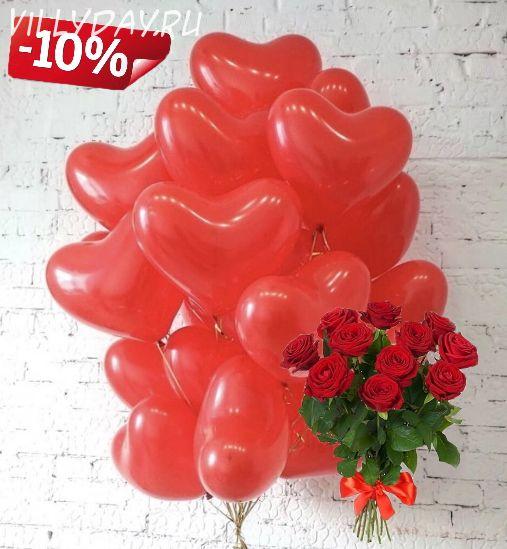 11 роз и 15 сердец (красные)