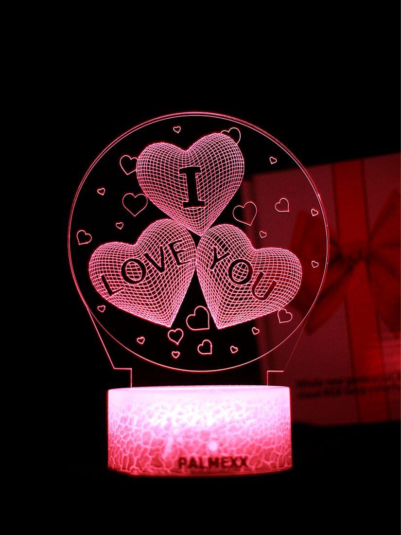 Светодиодный ночник PALMEXX 3D светильник LED RGB 7 цветов (я люблю тебя)